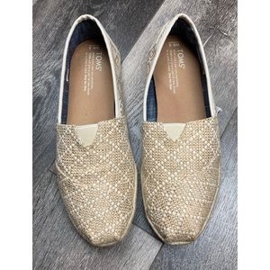 Toms natural woven canvas classic slip on shoes
